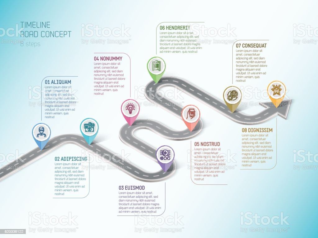 Isometric navigation map infographic 8 steps timeline concept. W vector art illustration