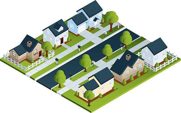 Isometric Neighborhood Detailed isometric illustration of a residential neighborhood. All colors are global. File is logically grouped and layered. driveway stock illustrations