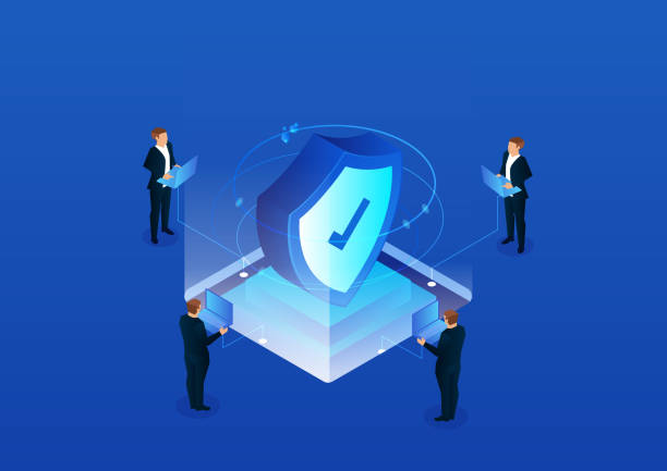 Isometric network security technology Isometric network security technology security staff stock illustrations