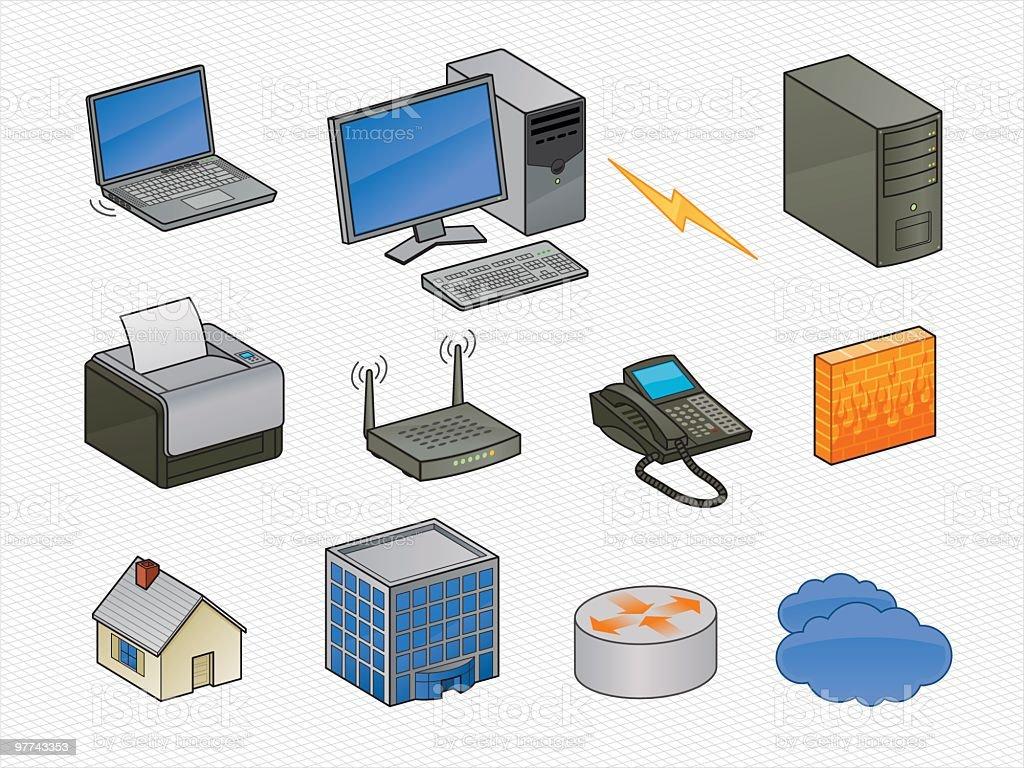 Isometric Networking Icons vector art illustration