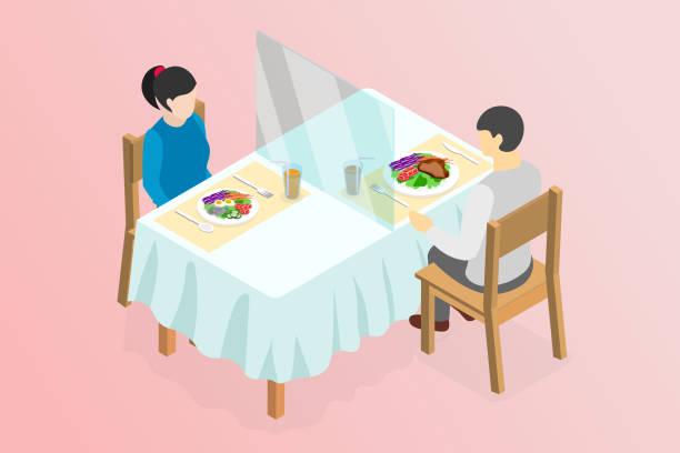 ilustrações de stock, clip art, desenhos animados e ícones de isometric new normal after covid-19 pandemic in restaurant, street food or canteen social distancing concept - covid restaurant