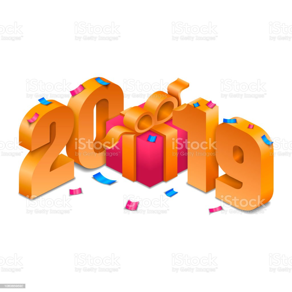 isometric new year golden 2019 with gift box and confetti royalty free isometric new year