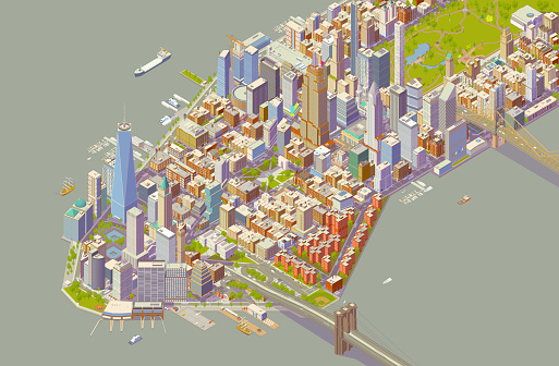 Isometric New York Bold Color