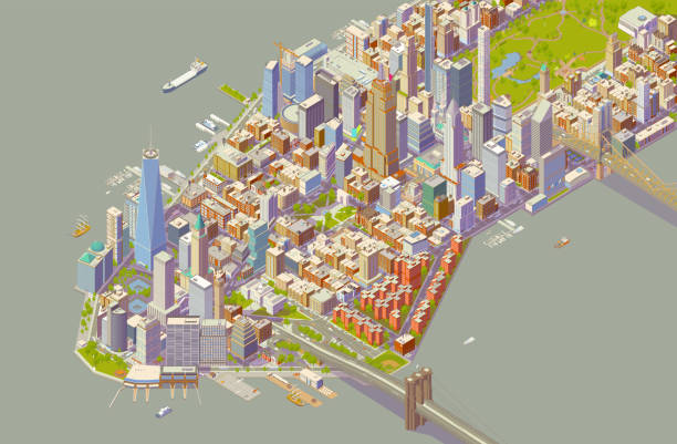 Isometric New York Bold Color vector art illustration