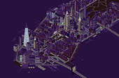 Detailed illustration of New York City at night showing southern neighborhoods of Manhattan. Includes illuminated buildings, traffic, and bridges and is shown in isometric projection. ++ Legal note: No landmarks are isolated, and none are the main focus of this holistic cityscape.