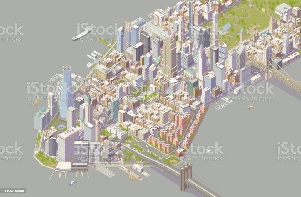 Isometric New York Detailed illustration of New York City showing southern neighborhoods of Manhattan. Includes hundreds of buildings, trees, traffic, parks, boats, and bridges and is shown in isometric projection. ++ Legal note: No landmarks are isolated, and none are the main focus of this holistic cityscape. 2020 - 2029 stock vector