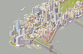 Detailed illustration of New York City showing southern neighborhoods of Manhattan. Includes hundreds of buildings, trees, traffic, parks, boats, and bridges and is shown in isometric projection. ++ Legal note: No landmarks are isolated, and none are the main focus of this holistic cityscape.