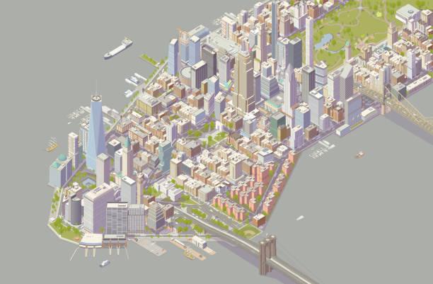 Isometric New York vector art illustration