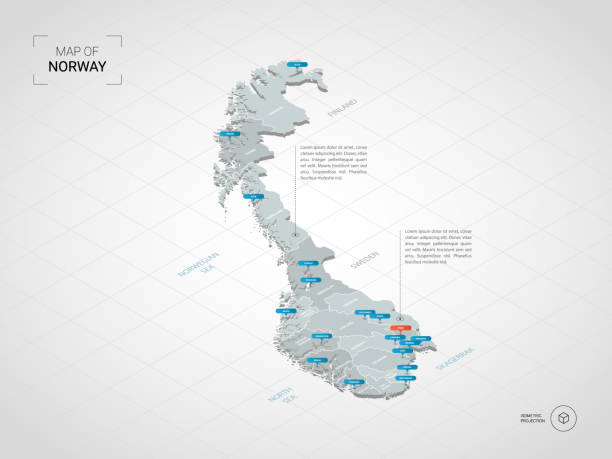 Isometric Norway map with city names and administrative divisions. Isometric  3D Norway map. Stylized vector map illustration with cities, borders, capital, administrative divisions and pointer marks; gradient background with grid. norway stock illustrations