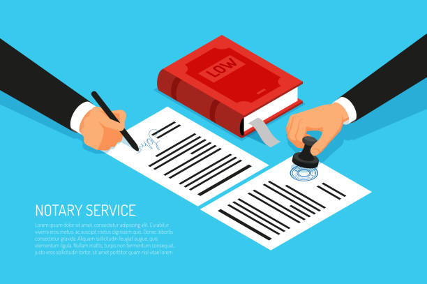 stockillustraties, clipart, cartoons en iconen met isometrische notaris - notaris