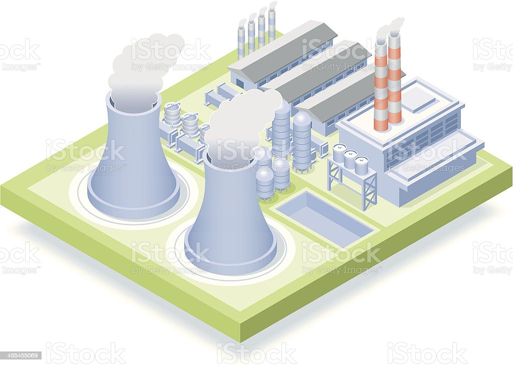 Isometric, Nuclear plant vector art illustration