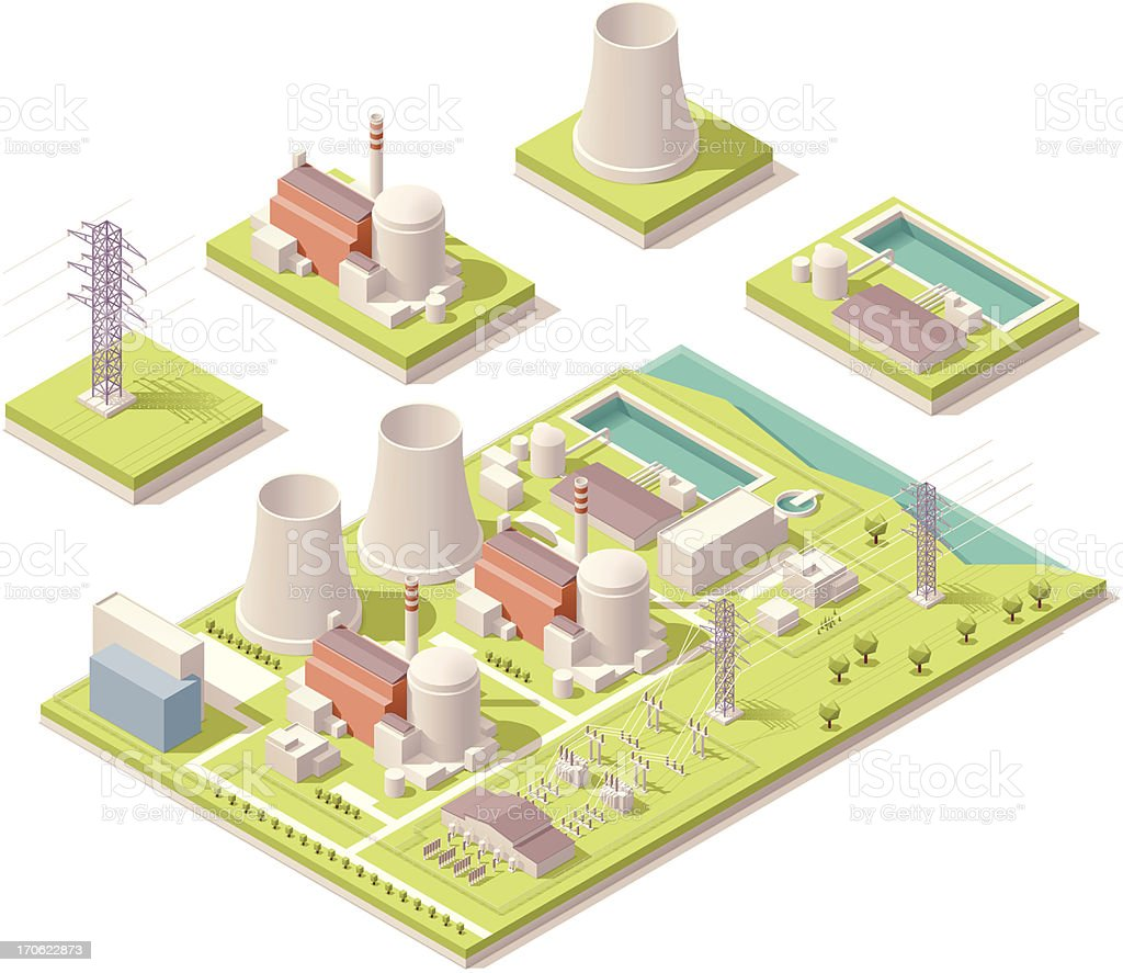 Isometric nuclear power facility vector art illustration