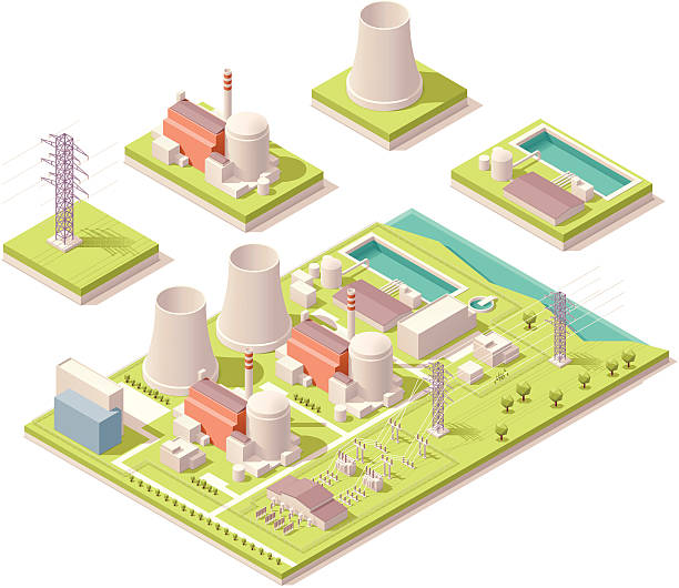 Isometric nuclear power facility Vector isometric map of the generic nuclear power plant power station stock illustrations