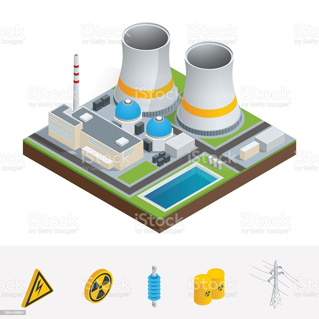 Isometric nuclear power station, reactors, energy generation related facilities vector art illustration