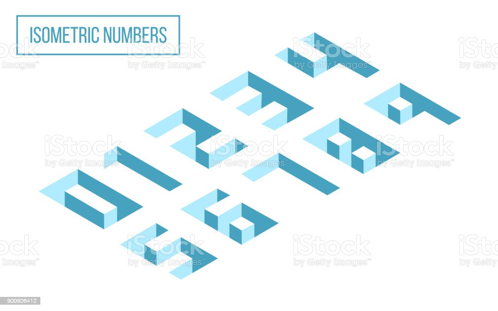 3D Isometric Numbers royalty-free 3d isometric numbers stock illustration - download image now