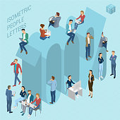 Flat design 3d light isometric typeface numbers decorated with office workplace scenes, working, communicating, acting people, sitting and standing, front and back view. 100 percent