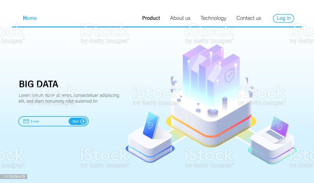 ビッグデータ処理とデータホスティングサーバコンセプトデータセンター ...