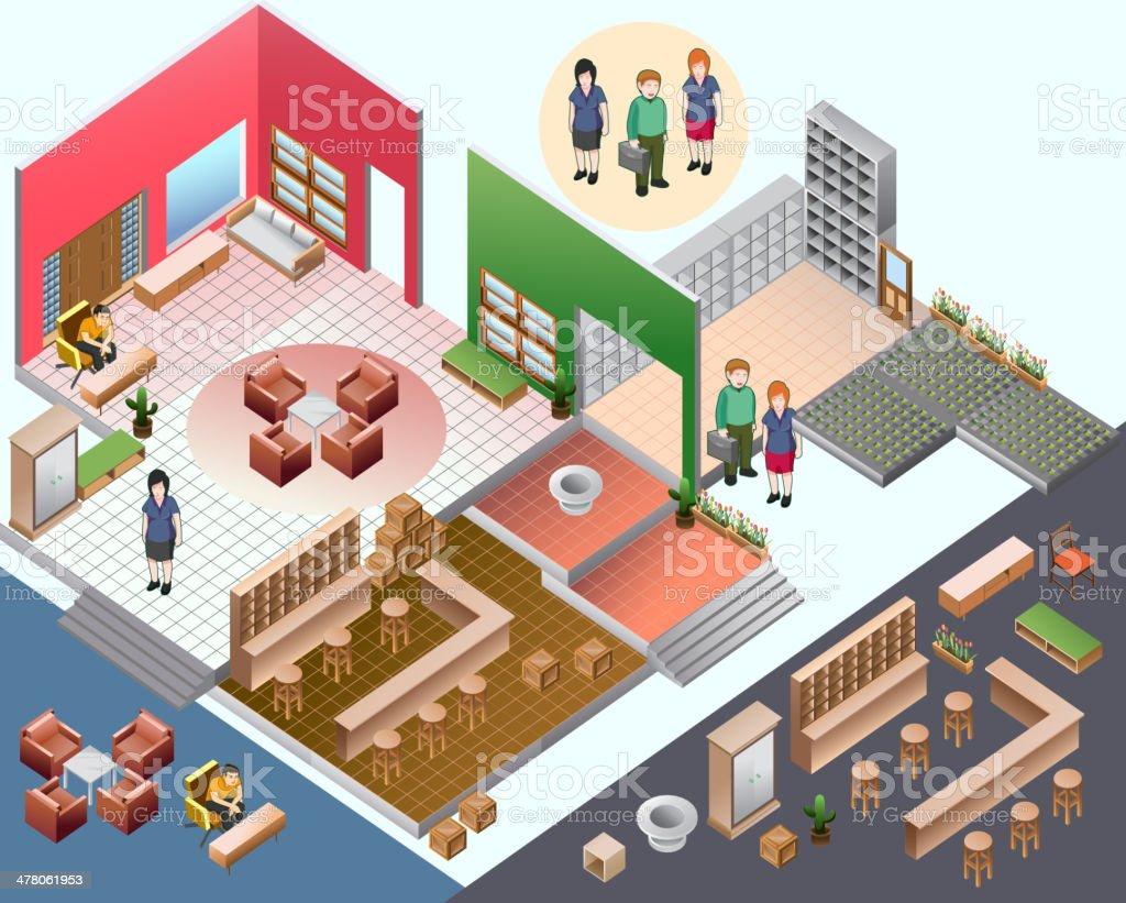 isometric of interior room vector art illustration