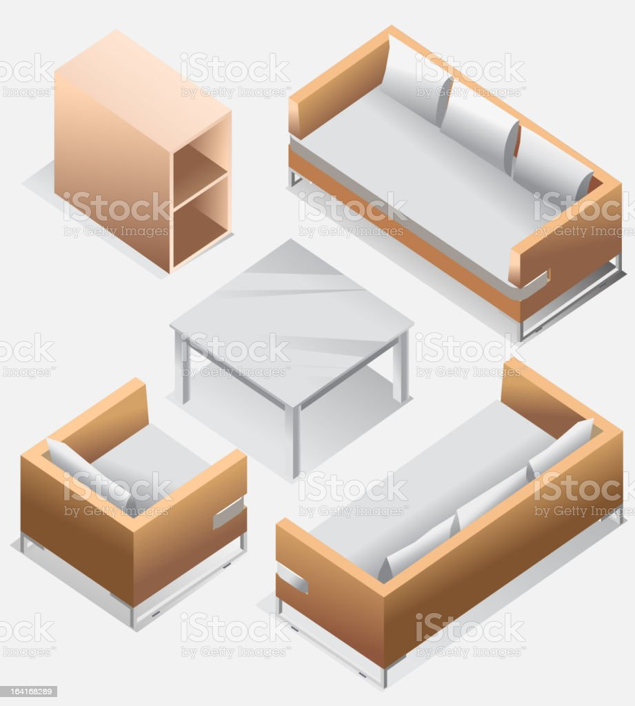 Isometric of Living Room Furniture royalty-free isometric of living room furniture stock vector art & more images of architectural feature