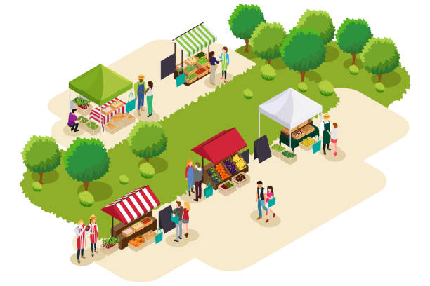 illustrazioni stock, clip art, cartoni animati e icone di tendenza di isometric of people shopping at farmers market illustration - mercato frutta donna