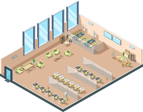 Isometric office. Big corporate open working area building interior cabinets with tables chairs and equipment for managers vector