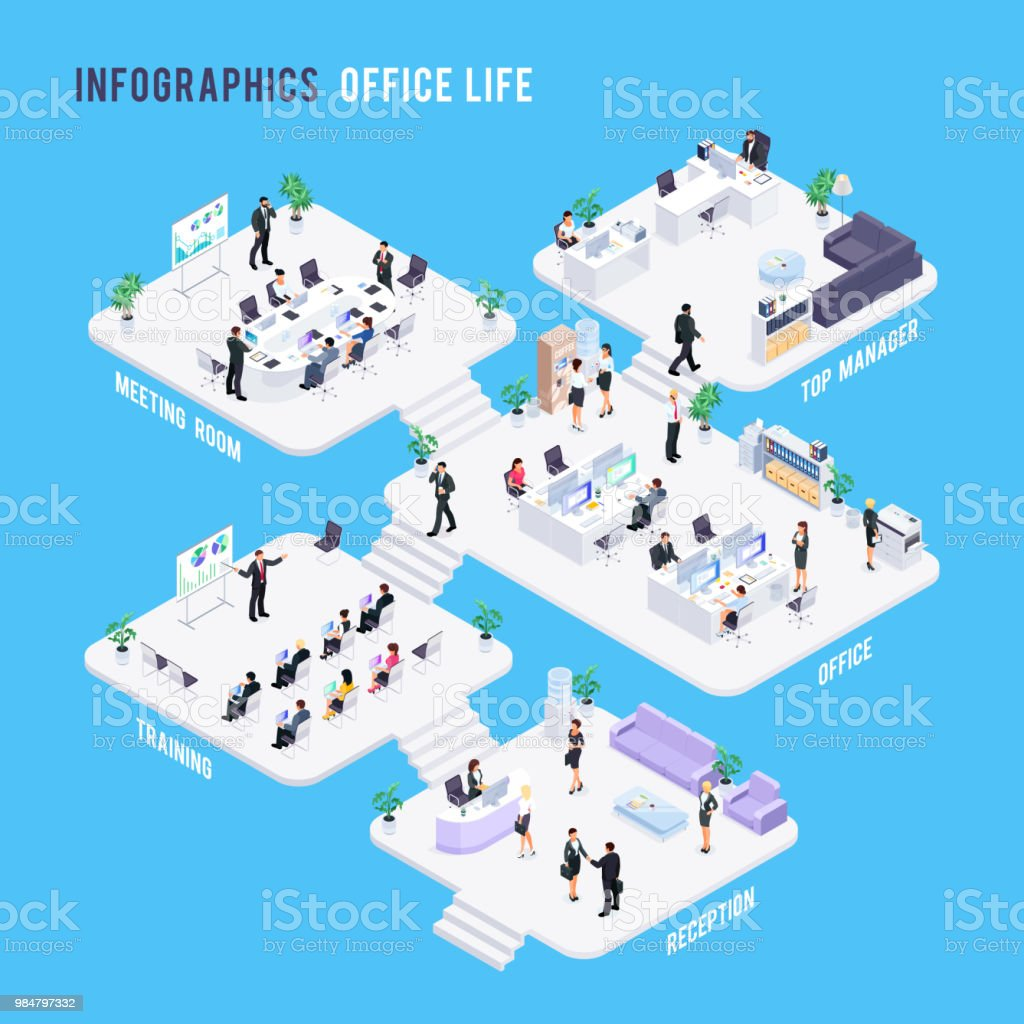 Isometric office concept. royalty-free isometric office concept stock illustration - download image now