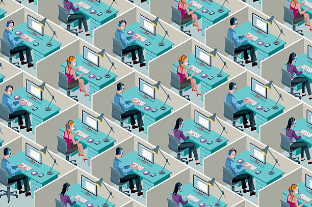 Isometric Office Cubicles Isometric Office Cubicles. Men and women working with headset in a call center. call centre illustrations stock illustrations