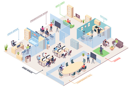 Isometric office design with CEO, presentation room and open space, rest area and kitchen, lounge and conference hall. Cubicle vector coworking space for work or job. Business center plan