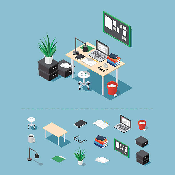 isometric office desk - tischarrangements stock-grafiken, -clipart, -cartoons und -symbole