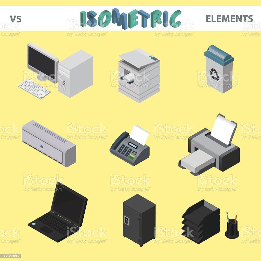 Isometric office elements vector art illustration