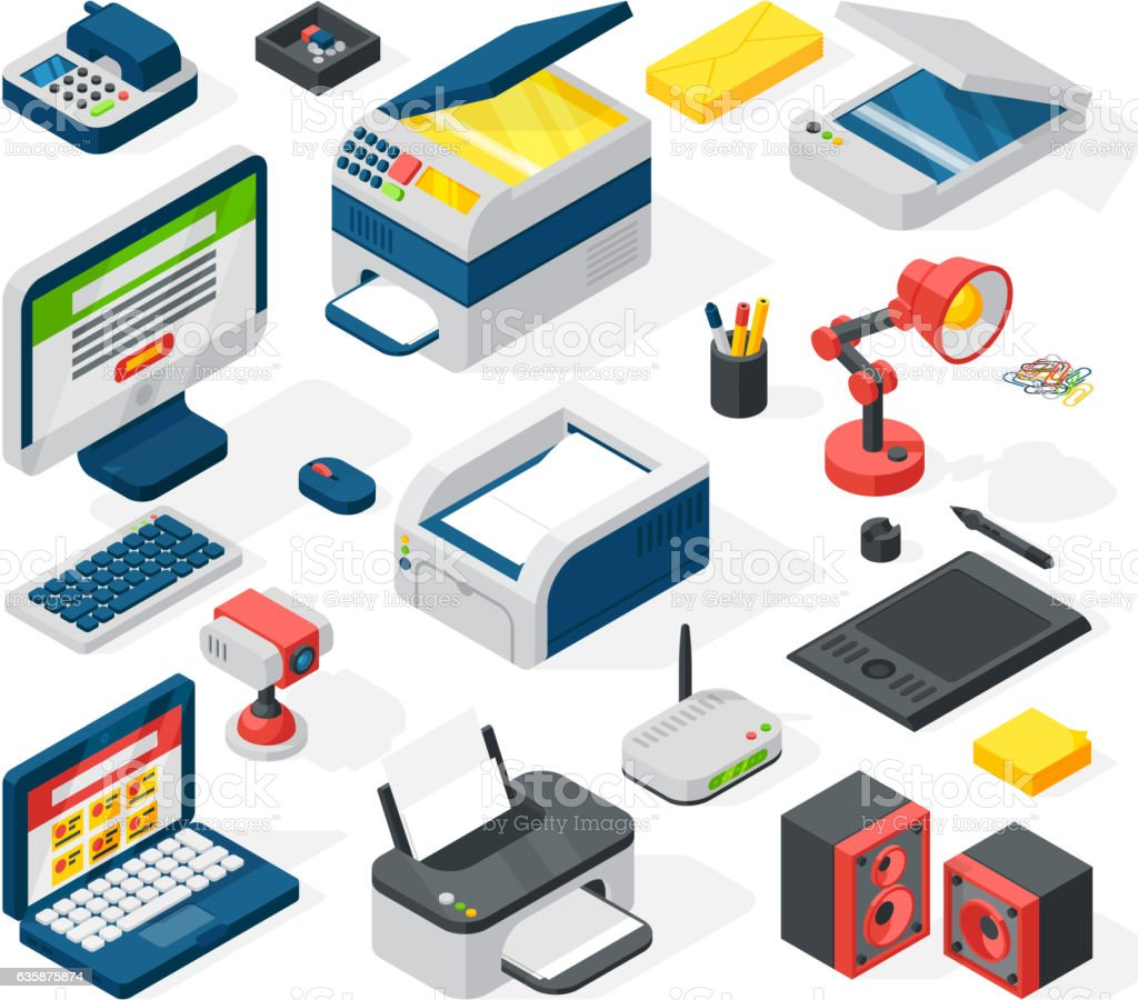 Isometric office equipment vector vector art illustration