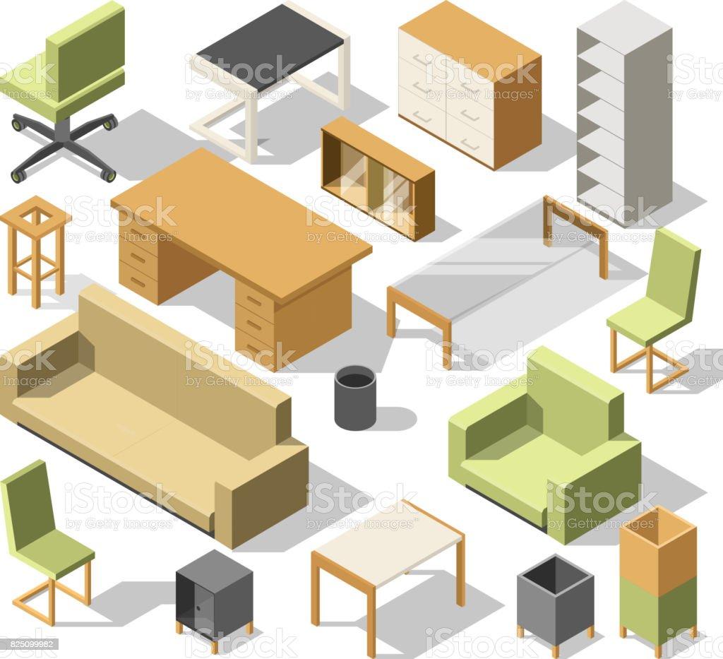 Isometrische Büromöbel 3d Schrank Mit Tisch Stühle Und Sessel Sofa ...