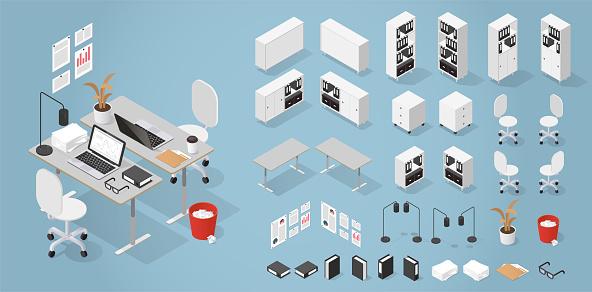 Isometric Office Furniture Kit
