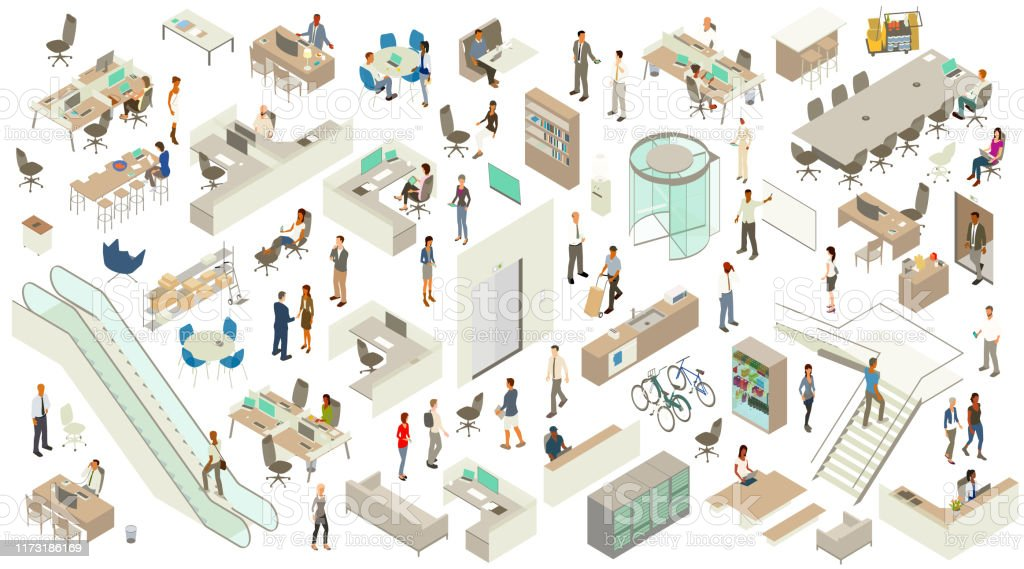 Isometric Office Icons A detailed, varied set of icon illustrations with an office theme include a revolving door, escalator, elevator entrances, stairway, desks, cubicles, a conference table, storage shelves, cleaning cart, drink refrigerator, coffee machine, water cooler, and desk chairs. People include businessmen, business women, casually dressed employees, a delivery person, a security guard at desk, and receptionist. Technology includes desktop and laptop computers, smart phones, a rack of servers, and tablets. Adult stock vector