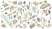 A detailed, varied set of icon illustrations with an office theme include a revolving door, escalator, elevator entrances, stairway, desks, cubicles, a conference table, storage shelves, cleaning cart, drink refrigerator, coffee machine, water cooler, and desk chairs. People include businessmen, business women, casually dressed employees, a delivery person, a security guard at desk, and receptionist. Technology includes desktop and laptop computers, smart phones, a rack of servers, and tablets.