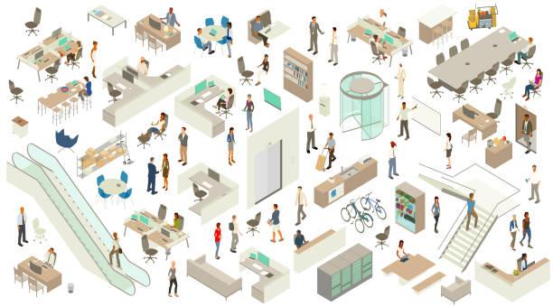 izometryczne ikony pakietu office - rzut izometryczny stock illustrations