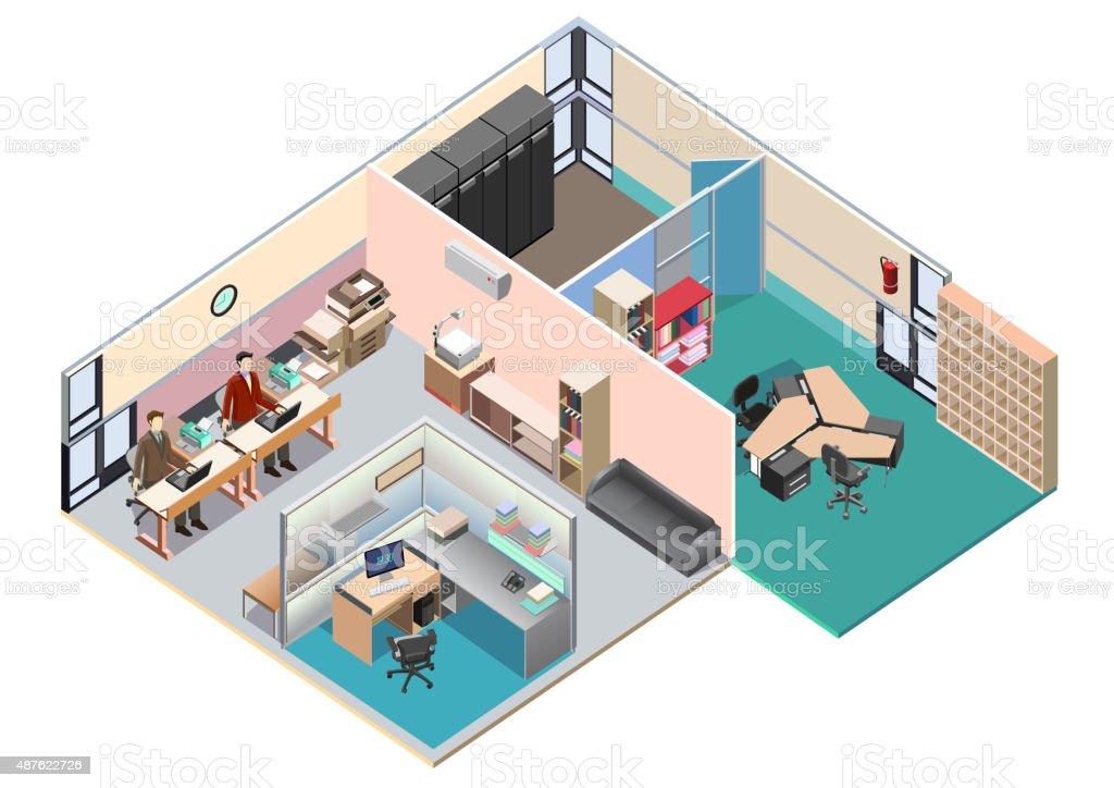 Isometric office interior layout. detailed vector illustration vector art illustration