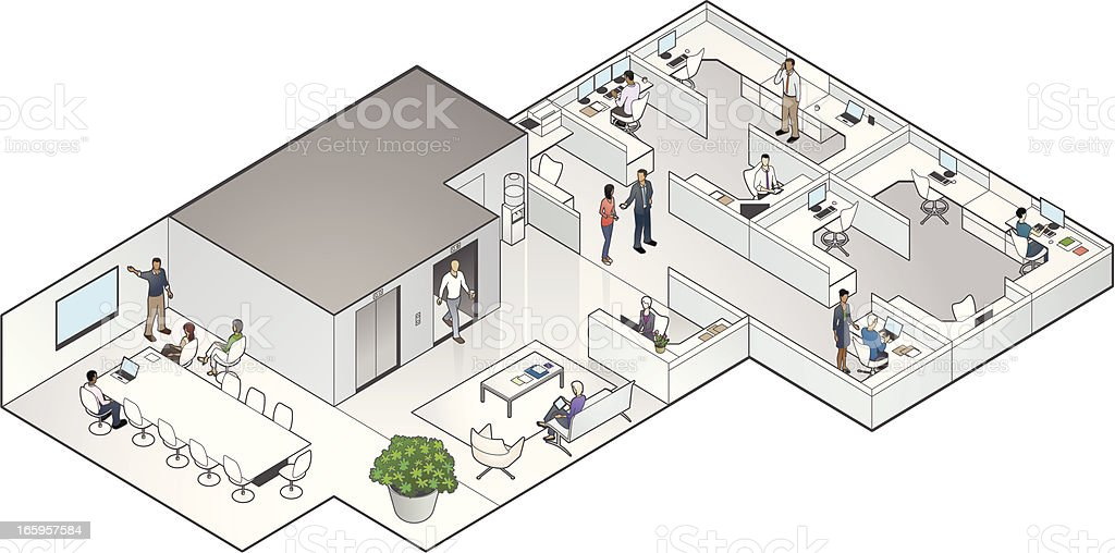 Isometric Office Interior vector art illustration