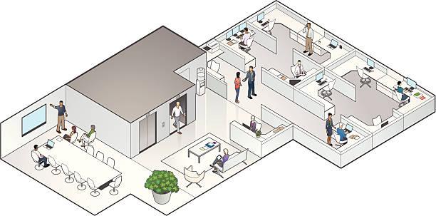 Isometric Office Interior vector art illustration