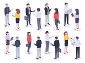 Isometric office people. Business persons, bank employee and professional corporate businessman. Executive meeting, teamwork professional collaboration. Vector 3D illustration isolated icons set