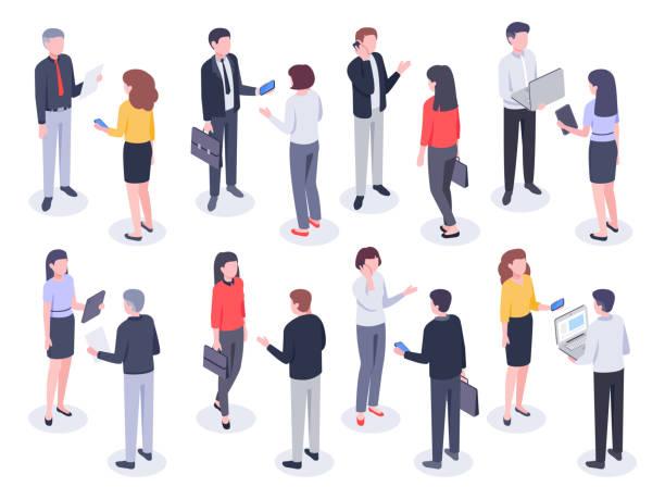 stockillustraties, clipart, cartoons en iconen met isometrische kantoor mensen. zakelijke personen, bank werknemer en professionele corporate zakenman vector 3d illustratie set - business woman phone