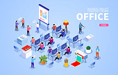Isometric office scene with businessman at work