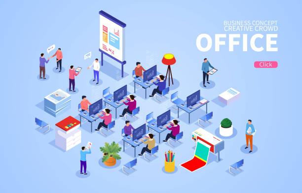 Isometrische Büroszene mit Geschäftsmann bei der Arbeit – Vektorgrafik
