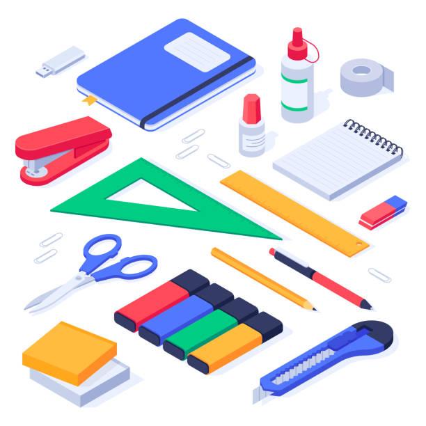 bildbanksillustrationer, clip art samt tecknat material och ikoner med isometrisk kontorsmateriel. skola pappersvaror verktyg, suddgummi och pennor 3d vektor set - digital device classroom
