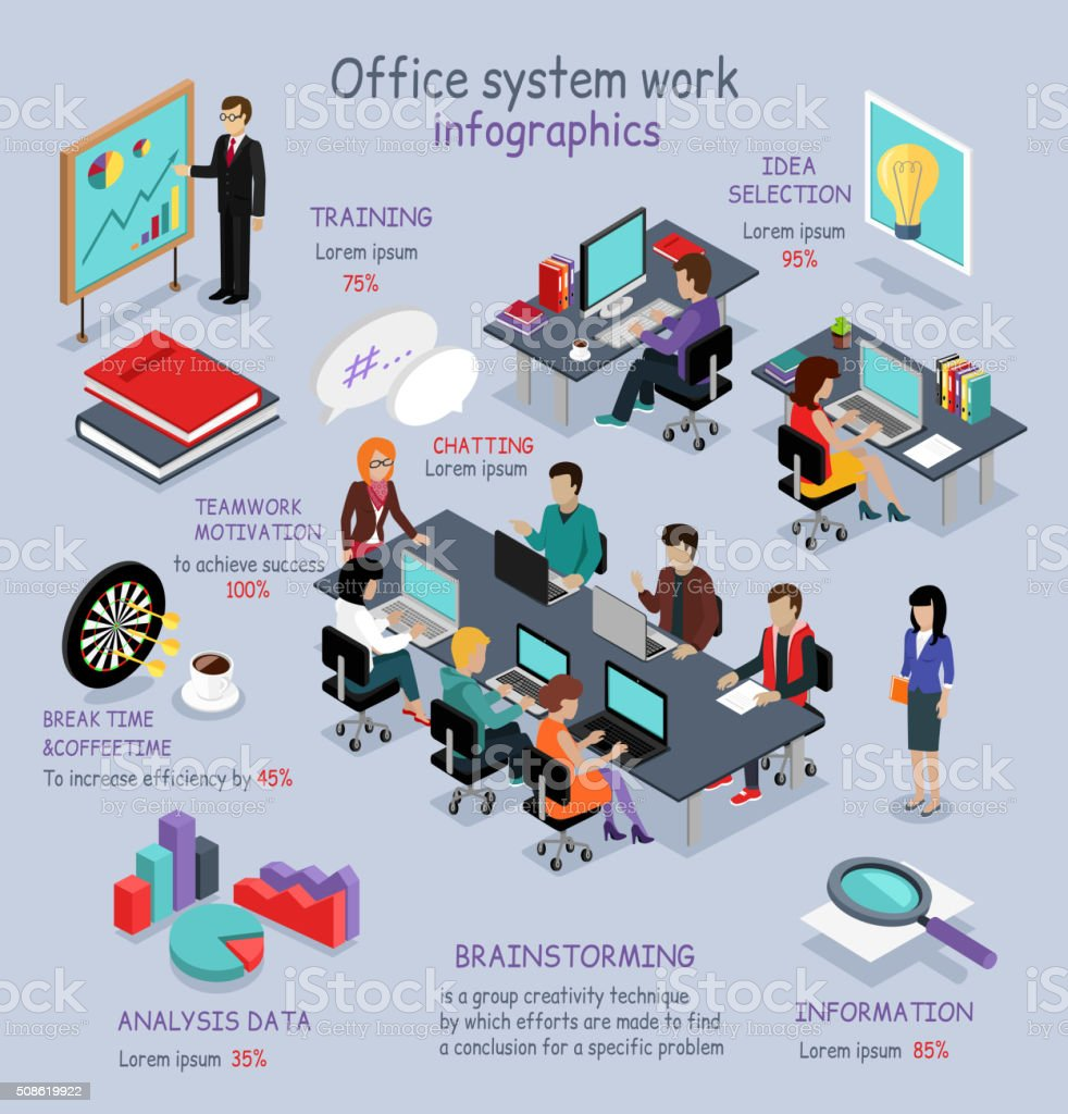 Isometric Office System Work Infographic vector art illustration