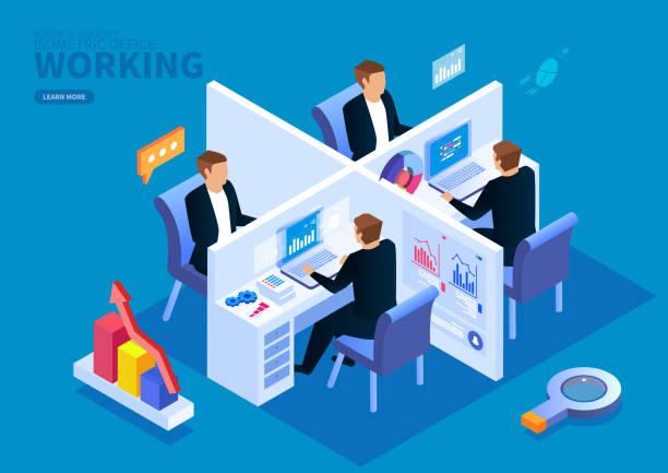 Isometrische Büroteamarbeit – Vektorgrafik