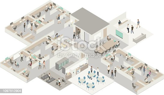 Highly detailed illustration of an office in a subtle color palette. The interior of an office building shows people arriving for work, beginning their morning meetings, and using the in-office gym. Casual and contemporary workers use a variety of technology devices, and a sense of movement and collaboration are communicated by the vector drawing.