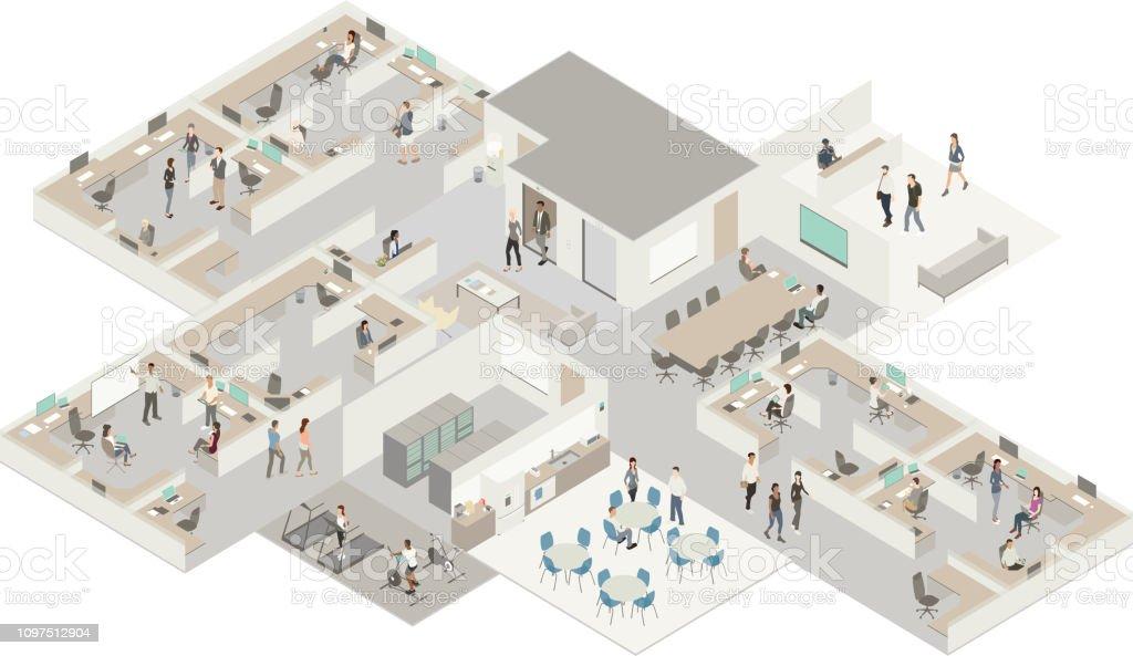 Isometric office vector art illustration