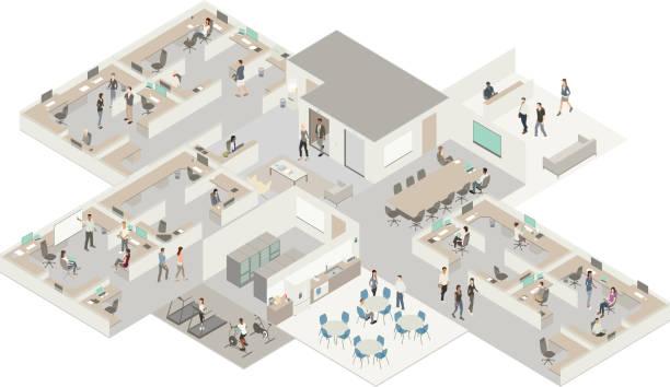 isometric office - computer server room stock illustrations