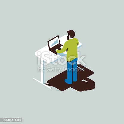 Isometric illustration with character at standing desk typing on a computer.
